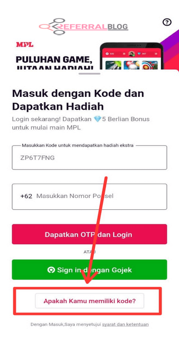 Kode Referral MPL Pro, Referal Rujukan Bonus Token